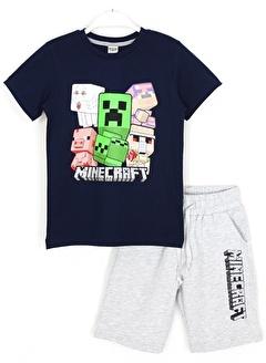 Minecraft Minecraft Erkek Çocuk Tişört Şort Alt Üst Takım 5-6 Yaş Lacivert